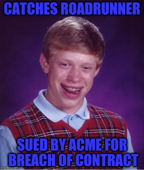 Bad Luck Brian Meme | CATCHES ROADRUNNER SUED BY ACME FOR BREACH OF CONTRACT | image tagged in memes,bad luck brian | made w/ Imgflip meme maker