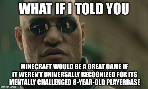 Matrix Morpheus Meme | WHAT IF I TOLD YOU MINECRAFT WOULD BE A GREAT GAME IF IT WEREN'T UNIVERSALLY RECOGNIZED FOR ITS MENTALLY CHALLENGED 8-YEAR-OLD PLAYERBASE | image tagged in memes,matrix morpheus,minecraft | made w/ Imgflip meme maker