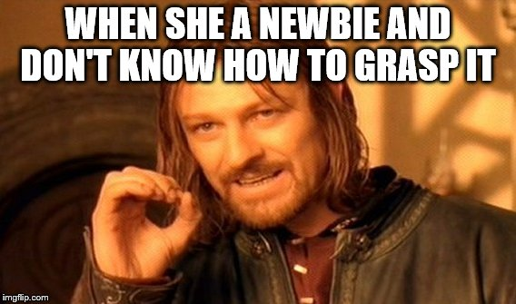 One Does Not Simply Meme | WHEN SHE A NEWBIE AND DON'T KNOW HOW TO GRASP IT | image tagged in memes,one does not simply | made w/ Imgflip meme maker