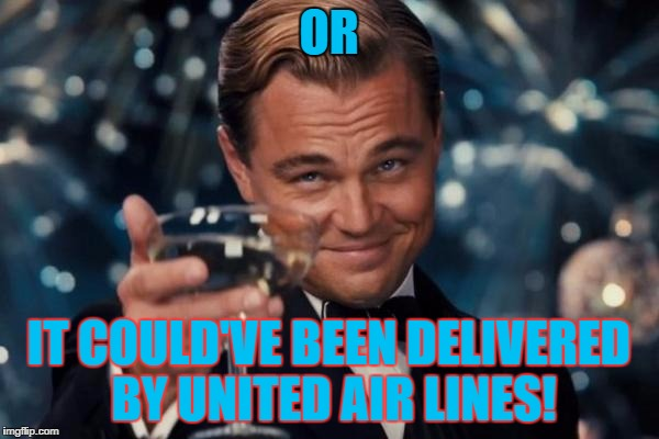 Leonardo Dicaprio Cheers Meme | OR IT COULD'VE BEEN DELIVERED BY UNITED AIR LINES! | image tagged in memes,leonardo dicaprio cheers | made w/ Imgflip meme maker