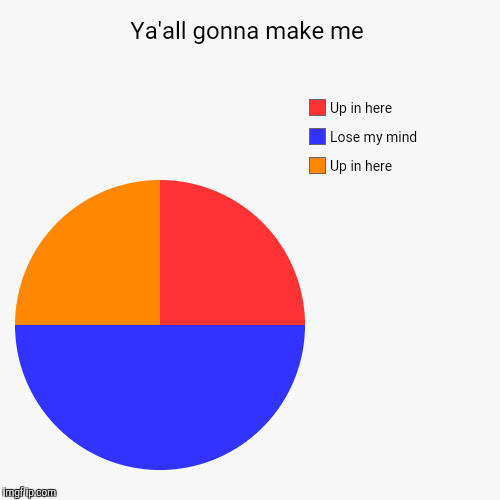 Ya'all gonna make me | Up in here, Lose my mind, Up in here | image tagged in funny,pie charts | made w/ Imgflip pie chart maker