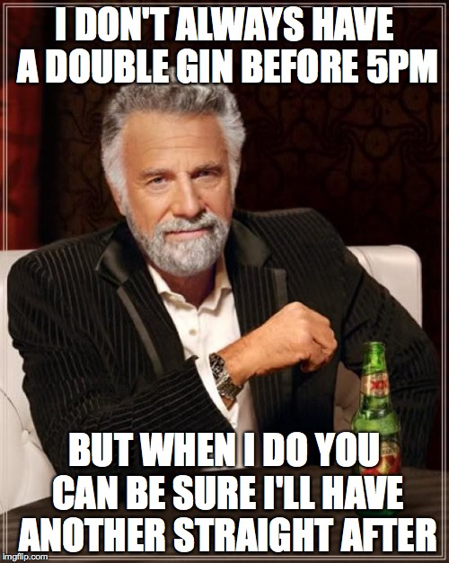 The Most Interesting Man In The World Meme | I DON'T ALWAYS HAVE A DOUBLE GIN BEFORE 5PM BUT WHEN I DO YOU CAN BE SURE I'LL HAVE ANOTHER STRAIGHT AFTER | image tagged in memes,the most interesting man in the world | made w/ Imgflip meme maker