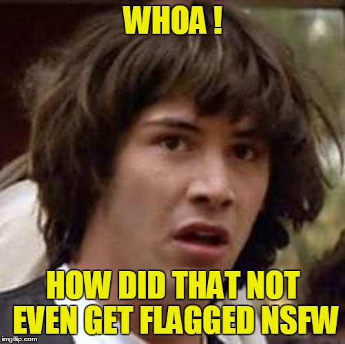 Conspiracy Keanu Meme | WHOA ! HOW DID THAT NOT EVEN GET FLAGGED NSFW | image tagged in memes,conspiracy keanu | made w/ Imgflip meme maker