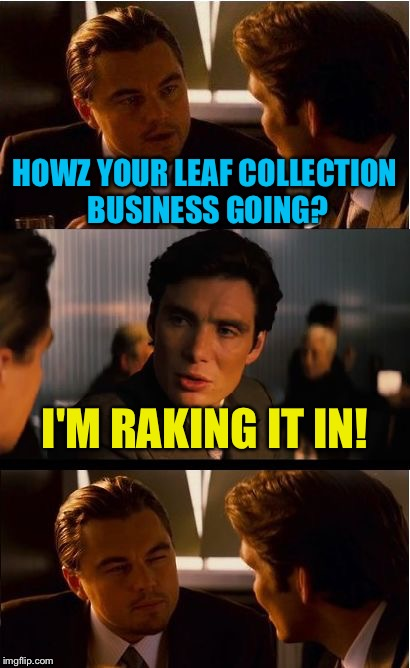 Inception Meme | HOWZ YOUR LEAF COLLECTION BUSINESS GOING? I'M RAKING IT IN! | image tagged in memes,inception | made w/ Imgflip meme maker