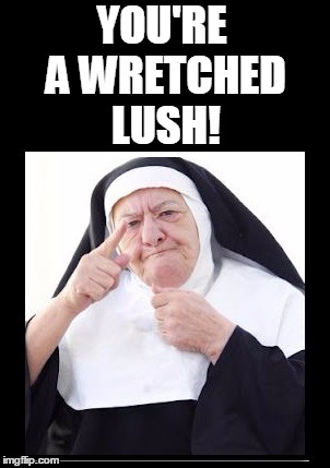 nun | YOU'RE A WRETCHED LUSH! | image tagged in nun | made w/ Imgflip meme maker