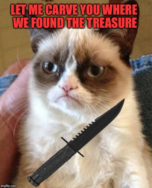 Grumpy Cat Meme | LET ME CARVE YOU WHERE WE FOUND THE TREASURE | image tagged in memes,grumpy cat | made w/ Imgflip meme maker