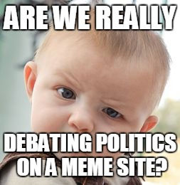 Skeptical Baby Meme | ARE WE REALLY DEBATING POLITICS ON A MEME SITE? | image tagged in memes,skeptical baby | made w/ Imgflip meme maker