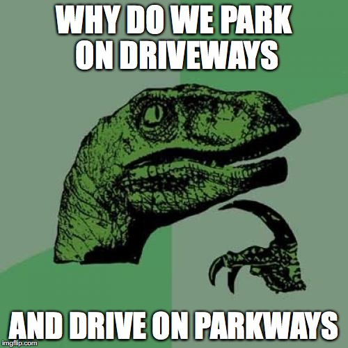 Philosoraptor Meme | WHY DO WE PARK ON DRIVEWAYS AND DRIVE ON PARKWAYS | image tagged in memes,philosoraptor | made w/ Imgflip meme maker