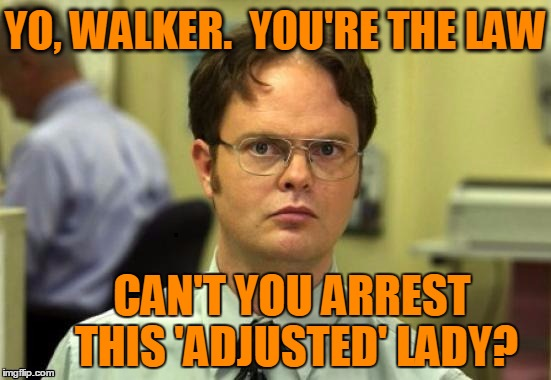 dwight | YO, WALKER.  YOU'RE THE LAW CAN'T YOU ARREST THIS 'ADJUSTED' LADY? | image tagged in dwight | made w/ Imgflip meme maker