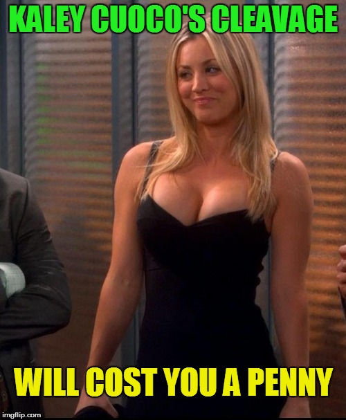 I theorize big bangs on those girls (Cleavage Week - A .Mushu.thedog Event) | KALEY CUOCO'S CLEAVAGE WILL COST YOU A PENNY | image tagged in memes,cleavage week,penny | made w/ Imgflip meme maker