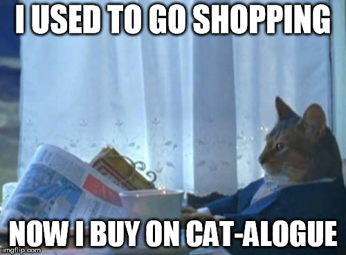 I Should Buy A Boat Cat Meme | I USED TO GO SHOPPING NOW I BUY ON CAT-ALOGUE | image tagged in memes,i should buy a boat cat | made w/ Imgflip meme maker