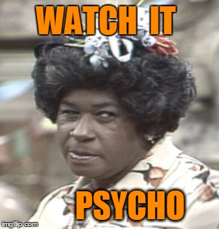 Aunt Esther | WATCH  IT PSYCHO | image tagged in aunt esther | made w/ Imgflip meme maker