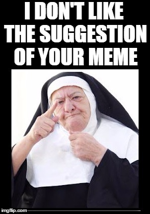 nun | I DON'T LIKE THE SUGGESTION OF YOUR MEME | image tagged in nun | made w/ Imgflip meme maker