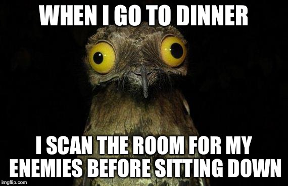 Weird Stuff I Do Potoo Meme | WHEN I GO TO DINNER I SCAN THE ROOM FOR MY ENEMIES BEFORE SITTING DOWN | image tagged in memes,weird stuff i do potoo | made w/ Imgflip meme maker