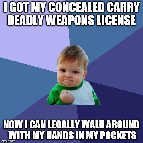 Now my hands won't have to freeze in the winter :D | I GOT MY CONCEALED CARRY DEADLY WEAPONS LICENSE NOW I CAN LEGALLY WALK AROUND WITH MY HANDS IN MY POCKETS | image tagged in memes,success kid | made w/ Imgflip meme maker