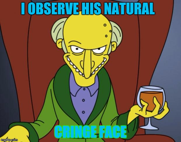Mr Burns Simpsons Brandy | I OBSERVE HIS NATURAL CRINGE FACE | image tagged in mr burns simpsons brandy | made w/ Imgflip meme maker