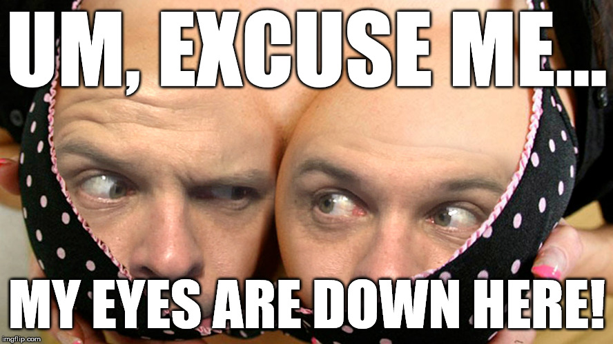 It's Cleavage Week | UM, EXCUSE ME... MY EYES ARE DOWN HERE! | image tagged in cleavage week,eyes | made w/ Imgflip meme maker