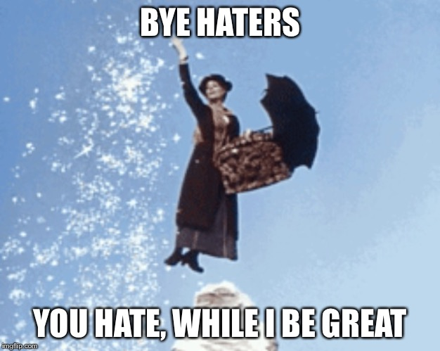 BYE HATERS YOU HATE, WHILE I BE GREAT | image tagged in bye haters | made w/ Imgflip meme maker