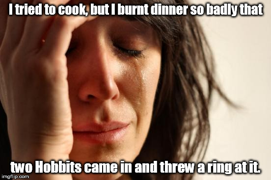 They looked like they had been sleeping rough. | I tried to cook, but I burnt dinner so badly that two Hobbits came in and threw a ring at it. | image tagged in memes,first world problems | made w/ Imgflip meme maker