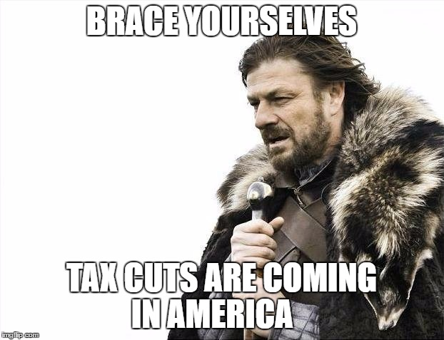 Trump wants to do this | BRACE YOURSELVES TAX CUTS ARE COMING IN AMERICA | image tagged in memes,brace yourselves x is coming,donald trump,tax cuts | made w/ Imgflip meme maker
