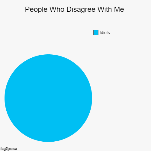 I Stand By My Opinions | People Who Disagree With Me | Idiots | image tagged in funny,pie charts,memes,funny gifs,hate,relateable | made w/ Imgflip pie chart maker