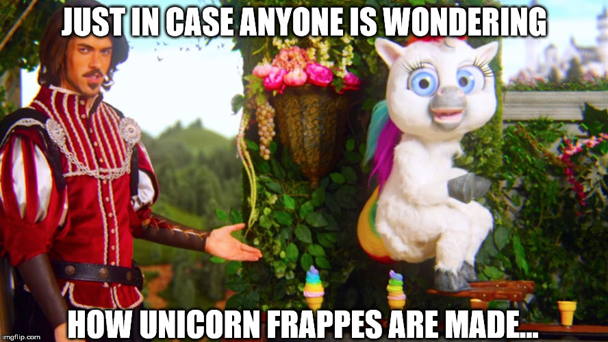 JUST IN CASE ANYONE IS WONDERING HOW UNICORN FRAPPES ARE MADE... | image tagged in unicorn poop | made w/ Imgflip meme maker