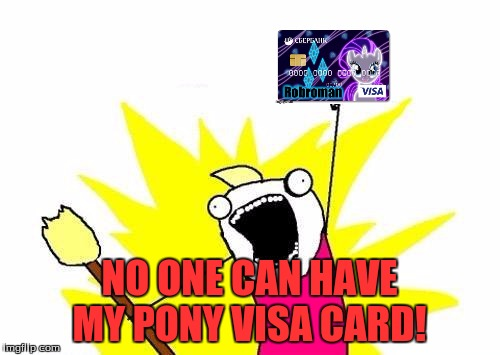 X All The Y Meme | NO ONE CAN HAVE MY PONY VISA CARD! | image tagged in memes,x all the y | made w/ Imgflip meme maker