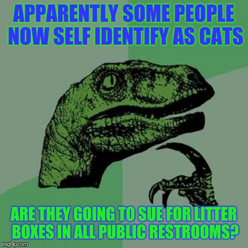 What would the sign by the door look like I wonder? | APPARENTLY SOME PEOPLE NOW SELF IDENTIFY AS CATS ARE THEY GOING TO SUE FOR LITTER BOXES IN ALL PUBLIC RESTROOMS? | image tagged in memes,philosoraptor,transgender,transgender bathrooms,cats | made w/ Imgflip meme maker