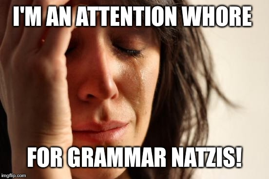 First World Problems Meme | I'M AN ATTENTION W**RE FOR GRAMMAR NATZIS! | image tagged in memes,first world problems | made w/ Imgflip meme maker