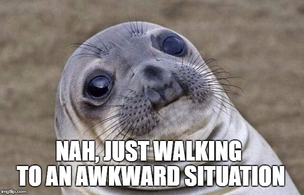 Awkward Moment Sealion Meme | NAH, JUST WALKING TO AN AWKWARD SITUATION | image tagged in memes,awkward moment sealion | made w/ Imgflip meme maker