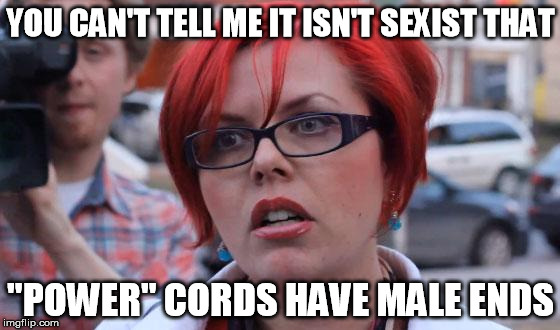 "Obviously made by a man. | YOU CAN'T TELL ME IT ISN'T SEXIST THAT ""POWER"" CORDS HAVE MALE ENDS 