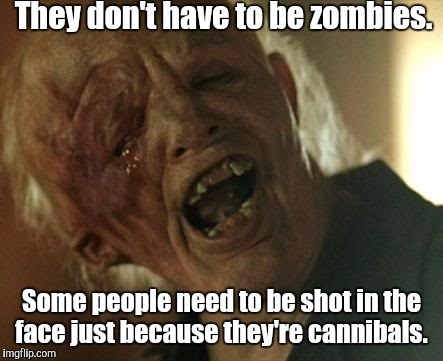 r2dxk.jpg | They don't have to be zombies. Some people need to be shot in the face just because they're cannibals. | image tagged in r2dxkjpg | made w/ Imgflip meme maker