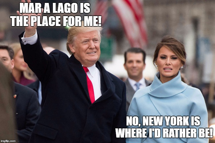 MAR A LAGO IS THE PLACE FOR ME! NO, NEW YORK IS WHERE I'D RATHER BE! | image tagged in trump,melania,green acres | made w/ Imgflip meme maker