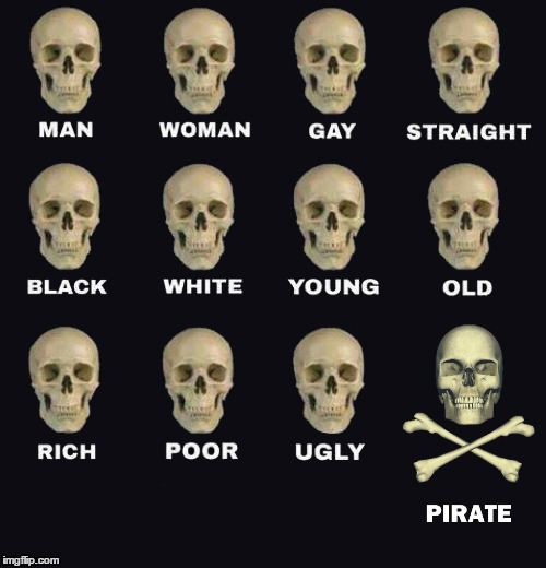Man Woman Gay Straight Skull |  . | image tagged in man woman gay straight skull,pirate | made w/ Imgflip meme maker