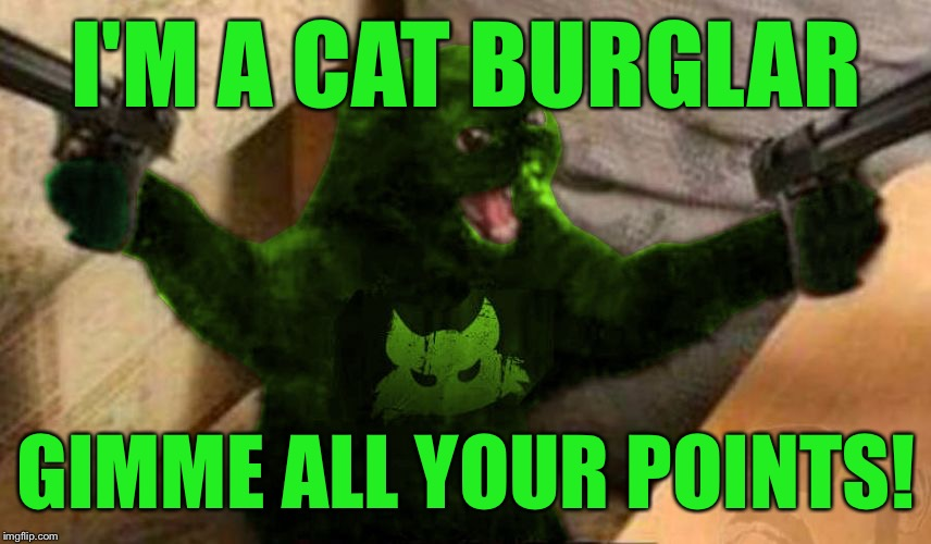 RayCat Angry | I'M A CAT BURGLAR GIMME ALL YOUR POINTS! | image tagged in raycat angry | made w/ Imgflip meme maker
