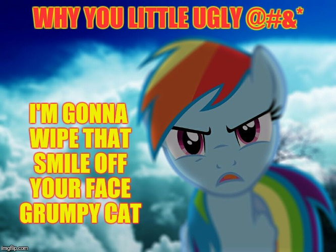 WHY YOU LITTLE UGLY @#&* I'M GONNA WIPE THAT SMILE OFF YOUR FACE GRUMPY CAT | made w/ Imgflip meme maker