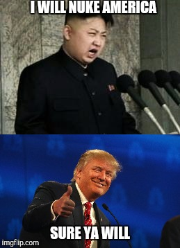 I WILL NUKE AMERICA SURE YA WILL | image tagged in kim jong un,trump | made w/ Imgflip meme maker
