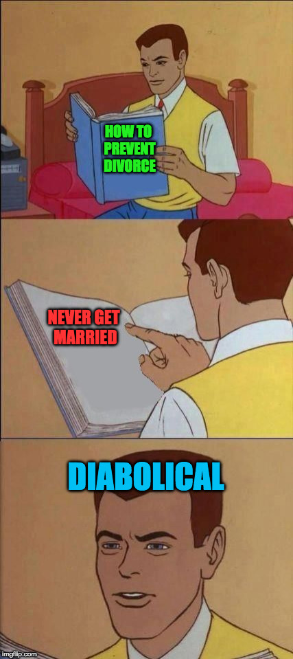 its so obvious. why haven't more people read this book? |  HOW TO PREVENT DIVORCE; NEVER GET MARRIED; DIABOLICAL | image tagged in book of idiots,marriage,divorce,prevention | made w/ Imgflip meme maker