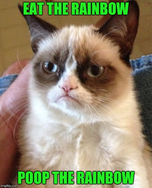 Grumpy Cat Meme | EAT THE RAINBOW POOP THE RAINBOW | image tagged in memes,grumpy cat | made w/ Imgflip meme maker