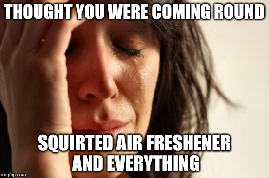 First World Problems Meme | THOUGHT YOU WERE COMING ROUND SQUIRTED AIR FRESHENER AND EVERYTHING | image tagged in memes,first world problems | made w/ Imgflip meme maker