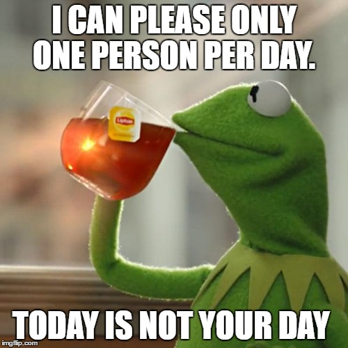 But Thats None Of My Business Meme | I CAN PLEASE ONLY ONE PERSON PER DAY. TODAY IS NOT YOUR DAY | image tagged in memes,but thats none of my business,kermit the frog | made w/ Imgflip meme maker
