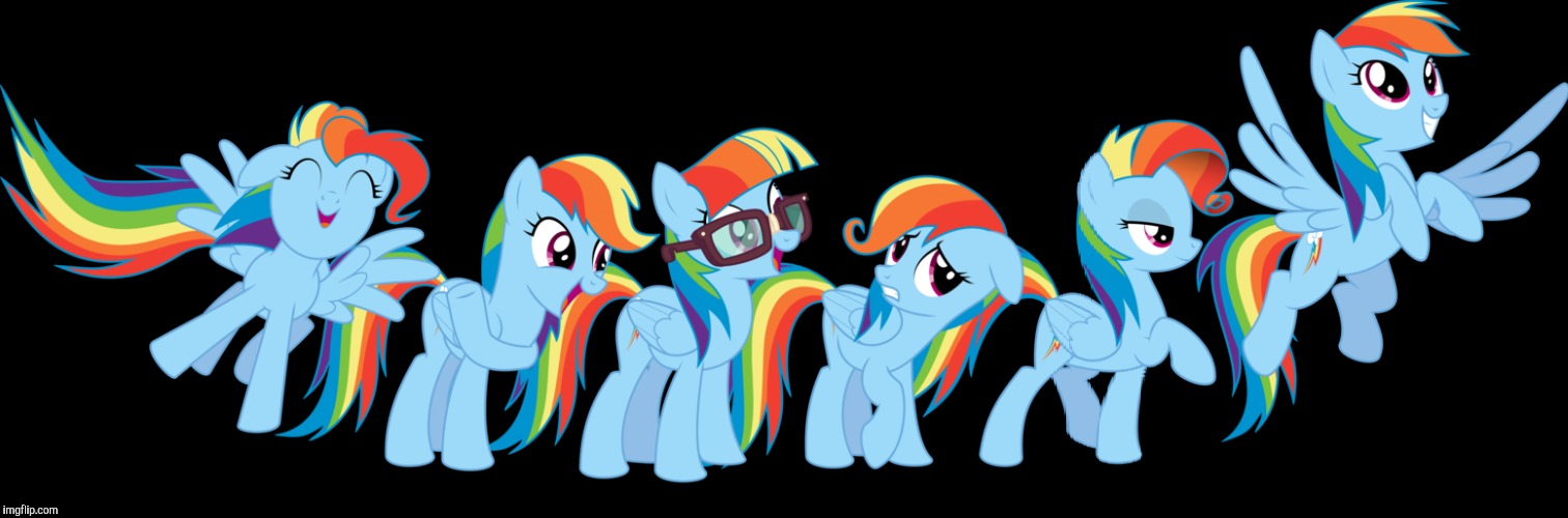 Yup, Rainbow Dash can turn into anypony | image tagged in mlp,rainbow dash | made w/ Imgflip meme maker