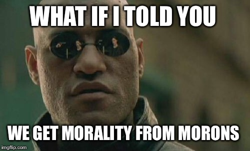 Matrix Morpheus Meme | WHAT IF I TOLD YOU WE GET MORALITY FROM MORONS | image tagged in memes,matrix morpheus | made w/ Imgflip meme maker