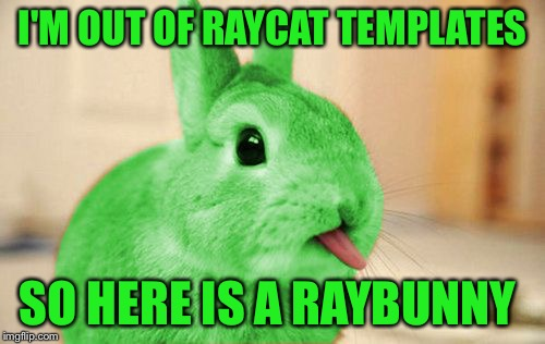 RayBunny | I'M OUT OF RAYCAT TEMPLATES SO HERE IS A RAYBUNNY | image tagged in raybunny,memes | made w/ Imgflip meme maker