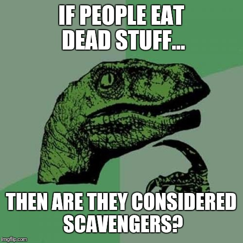 Philosoraptor Meme | IF PEOPLE EAT DEAD STUFF... THEN ARE THEY CONSIDERED SCAVENGERS? | image tagged in memes,philosoraptor | made w/ Imgflip meme maker