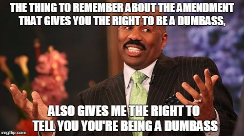 Steve Harvey Meme | THE THING TO REMEMBER ABOUT THE AMENDMENT THAT GIVES YOU THE RIGHT TO BE A DUMBASS, ALSO GIVES ME THE RIGHT TO TELL YOU YOU'RE BEING A DUMBA | image tagged in memes,steve harvey | made w/ Imgflip meme maker