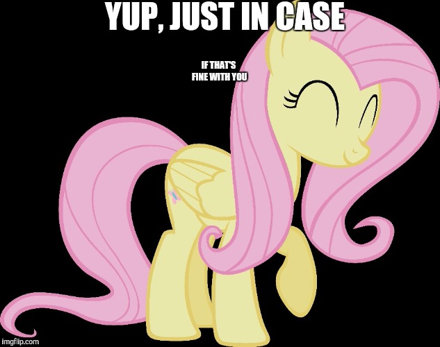 happy fluttershy | YUP, JUST IN CASE IF THAT'S FINE WITH YOU | image tagged in happy fluttershy | made w/ Imgflip meme maker