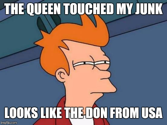 Futurama Fry Meme | THE QUEEN TOUCHED MY JUNK LOOKS LIKE THE DON FROM USA | image tagged in memes,futurama fry | made w/ Imgflip meme maker