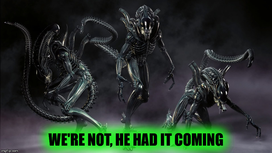 Three Aliens | WE'RE NOT, HE HAD IT COMING | image tagged in three aliens | made w/ Imgflip meme maker