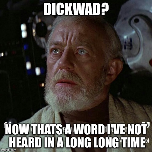 DICKWAD? NOW THATS A WORD I'VE NOT HEARD IN A LONG LONG TIME | image tagged in obi wan | made w/ Imgflip meme maker